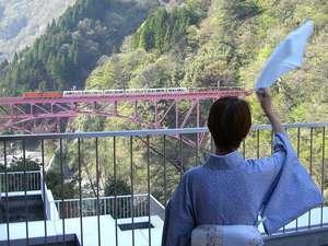 ロビーベランダからトロッコ電車に手を振ろう!もちろんお部屋からもトロッコが見えるよ♪