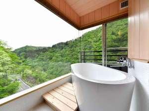 塩原温泉 渓流野天風呂と炉端料理の宿 湯守田中屋:2018年5月にリニューアルした、高層階角部屋の内風呂。ガラス張りで抜群の景色です。温泉内風呂付8畳和室