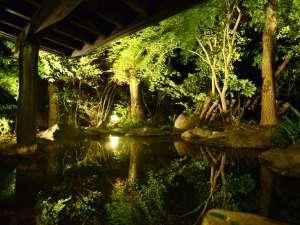 御料理旅館 親和苑 (杜の隠れ家):【夜の露天】灯りに照らされる木々が湯面に映り、幻想的な時間をお愉しみ頂けます