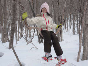 スノーシューで森の中を歩くと、こんな自然のブランコも!