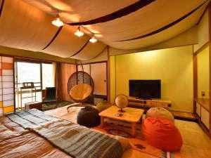 磐梯熱海温泉 金蘭荘花山   ~kinranso花山~:【活~かつ~】12.5+6畳。アウトドアの雰囲気を丸ごと室内に持ち込んだグランピングなテイスト。