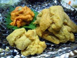 薬研温泉 薬研荘:生ウニ三種盛り・ボリュームたっぷり!・三種類の生ウニの食べ比べ、味比べが楽しめます