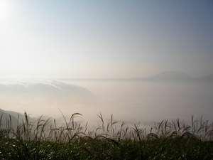 ペンション かかしのかくれ家:雲が 滝のように カルデラへ!大観峰からの雲海 神秘的!