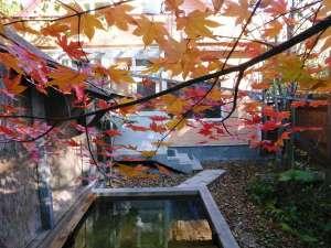 きらの宿すばる:紅葉の露天風呂。清涼な空気と鮮やかな彩りに包まれて自然を満喫できます。