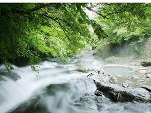 【大浴場】川のとんと隣にある「川湯」では、水しぶきを見ながらお湯を愉しめます