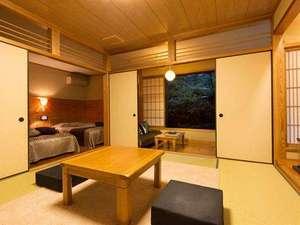 【客室】ヒノキ風呂付き和洋室。お部屋のお風呂も天然温泉100%で、24時間ご入浴いただけます