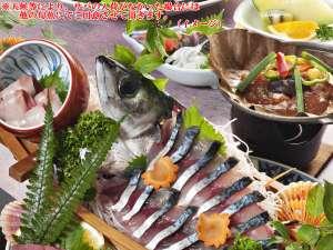 あしずり温泉郷 ホテル足摺園:清水サバ姿造り付はちきん地鶏の朴葉味噌焼き(イメージ)