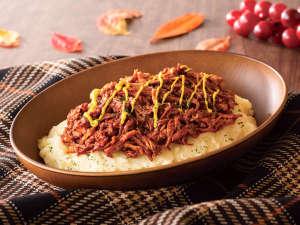 【秋限定:プルドポーク】ほぐした豚肉にBBQソースをあえたほろほろ食感が楽しめるアメリカ定番料理