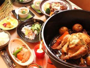 ロッヂ山びこ:グレードアッププランの夕食一例