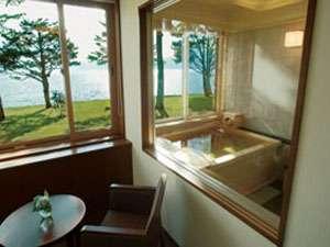レイクサイドヴィラ翠明閣:DXツインの天然温泉展望風呂からの景色