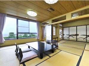 としまや月浜の湯:太平洋を一望できる広々タイプの部屋もご用意可。