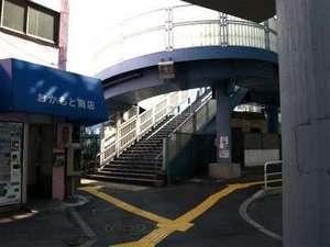 ビジネスホテルサンパレス:メトロ日比谷線南千住駅南出口を出て左側の歩道橋を渡ってください