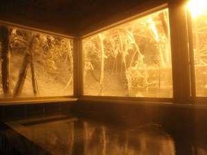 山の旅舎 中尾平:雪景色の内風呂