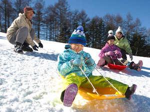 温泉&70種類バイキング 白樺湖 白樺リゾート 池の平ホテル:そり遊び広場には4つの珍しいソリを用意。お子さん大はしゃぎ必須の雪あそび♪