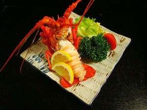 お魚料理の宿 魚拓荘 鈴木屋:メガ房州海老のボイル一例。プリプリの身にはマヨネーズが良く合います!!
