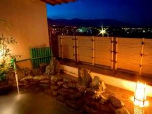 展望大浴場から続く≪露天風呂≫昼は天竜川の絶景、夜は飯田の夜景を望む