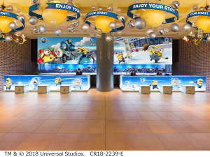 ホテル ユニバーサル ポート:パークの新ライド「ミニオン・ハチャメチャ・アイス」のミニオンたちが、ホテルでも大さわぎ!