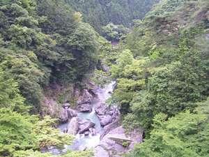 民宿 雲仙屋:多摩川の渓谷。雲仙橋から見下ろせます。
