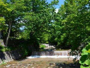 登別カルルス温泉 ホテル岩井:『渓風園』カルルス温泉の街中を流れる千歳川。