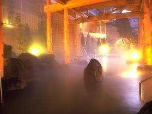 三朝温泉 依山楼岩崎:庭園の眺めを楽しむ開放感あふれる露天風呂「逢水の湯」