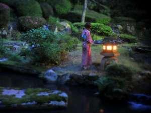 三朝温泉 依山楼岩崎:【依水園】夜の依水苑。日中とは違い幻想的な雰囲気を作り出します。