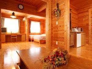 マウレ山荘:【温泉付コテージ】5名用:掘りごたつが付いていて、浴室も広々の5名用コテージ。