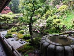 金剛三昧院:趣あるつくばいが置かれた庭園。四季の移ろいを感じます