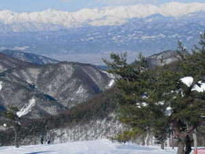 ペンション白いつばさ:(冬)こんな北アルプス連峰を正面に豪快に滑走出来る峰の原スキー場(当館から車で5分)