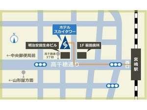 宮崎駅西口を出て高千穂通を直進。前田歯科の路地を右に曲がるとホテルへ到着!