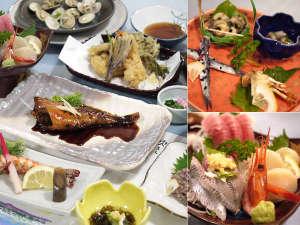 シーサイドホテル九十九里:【ご夕食例】新鮮な海の幸を中心に、季節に応じたお食事をご用意致します。美味しいごはんにお腹も満足★