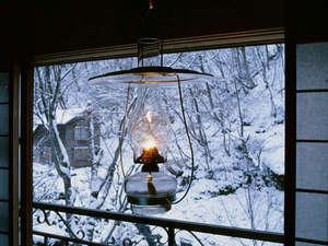 ランプの宿 青荷温泉:*雪景色とランプと。