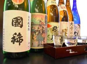 十勝幕別天然温泉 十勝幕別温泉 グランヴィリオホテル:北海道の銘酒を6種類集めました。自分の好きなお酒をチョイ飲み出来ますよ!!