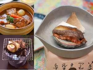 追加料理(要予約)鮑焼3000円~ さざえ壺焼900円~ ビーフシチュー1500円~。価格は税別です