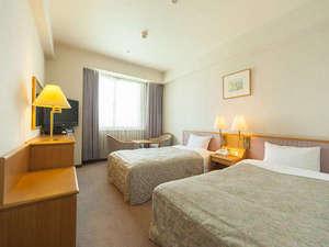 岡山ロイヤルホテル:21.0㎡のツインルームをシングルユースでゆったりとご利用可能