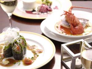 愛犬癒しの宿 Dog's day(ドッグデイ):【ご夕食一例】伊豆の新鮮な海の幸と、旬の食材を使用した創作料理に舌鼓を♪