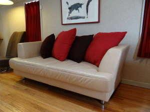 ビースティーレ 舞浜:42㎡の広いリビングには、本革の大型ソファーもあります。