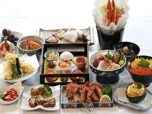 北村温泉ホテル:かえでプランの夕食例(旬の食材を味わっていただきからこそ、メニューは日によって変わります!)