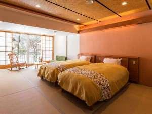 湖側客室・ベッドルーム 2017年冬にリニューアルした湖側ツインベッドルーム 禁煙部屋