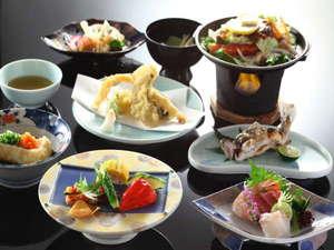 安曇野 老舗豆腐屋の宿 天満閣:信州の季節の素材とちょこっと海の幸も味わえる会席料理一例