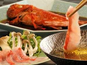 モダンアジアと地産地消の伊豆海鮮 ニッポニア高原宿 夢海月:【伊豆金目鯛】しゃぶしゃぶ、金目鯛姿煮、2つの味わいでどうぞ