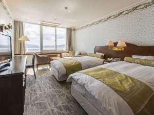 富士山と湖を望むリゾート ホテルマウント富士:スタンダードツインの一例