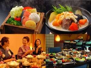 萩姫の湯 栄楽館:彩り豊かな会席料理をお楽しみいただけます。お食事処も畳に椅子でリラックス♪