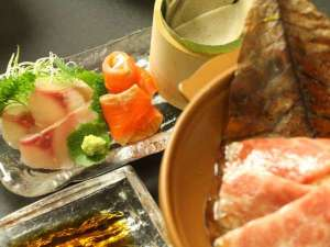つどい湯とそば料理の宿 せいがくかん(静岳館):夕食はちょっと贅沢に飛騨牛♪