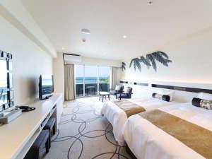 かねひで喜瀬ビーチパレス:スーペリアツイン芭蕉の木陰をイメージした落ち着いたお部屋