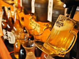 湯巡りと娯楽満載の宿 湯巡追荘:【飲み放題】夕食バイキングでは、アルコールも飲み放題♪