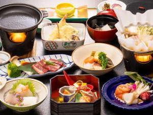【月替り会席】当館一番人気★しまね和牛の鉄板焼やお刺身、天ぷらなど島根の地元食材を使用しています。
