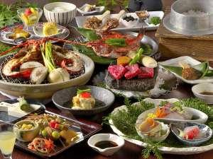絶景の癒しの湯宿 茄子のはな:伊勢海老・金目鯛・愛鷹牛と伊豆の三大味覚の創作料理も美味!写真は一例で、季節により内容が異なります。