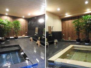 三朝温泉 後楽:御影石(左)・檜(右)風呂は、竹林特別室専用風呂です。