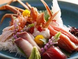 1日7組限定 全室露天風呂付きはなれ客室 いっぺん庵:旬の鮮魚をふんだんに使用したお造り/例