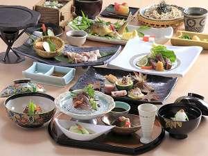 久住高原コテージ:旬の食材をふんだんに使った和食特別会席の一例